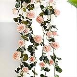 XFLOWR 180cm Artificial Rose Flower Vines for Wedding Home Decorativas Flores Falsas Rattan con Hojas Verdes Flor de Seda Colgante Garland Pink