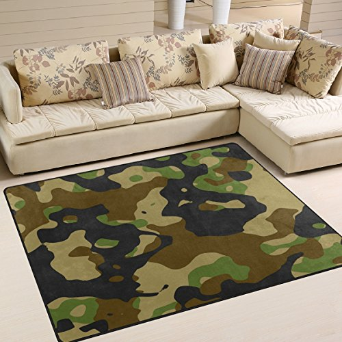 Domoko gr¨¹n und schwarz Camouflage Military Stilvolle Bereich Teppich Teppiche Matte f¨¹r Wohnzimmer Schlafzimmer, Textil, Mehrfarbig, 203cm x 147.3cm(7 x 5 feet)