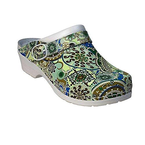 AWC-Footwear Deko-Line - Oriental, Unisex Arbeitsclogs, Mehrfarbig (grün/blau grün/blau), 42 EU (8 UK)