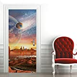 Etiqueta de Puerta Paisaje de Planeta de Fantasía Pegatinas de Pared Decoración de Hogar 95 x 215 cm