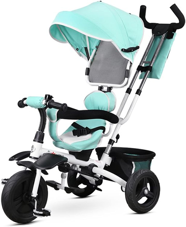 Kinderwagen, Dreirad Kinderwagen 1-5 Jahre alt Kinder Kind Warenkorb Rad Fahrrad Familie Portable 100cm ( Farbe    1 )