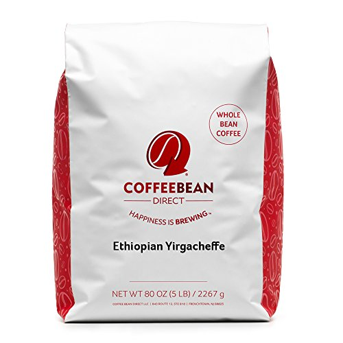 Coffee Bean Direct Ethiopian Yirgacheffe, Whole Bean Coffee, 5-Pound Bag
