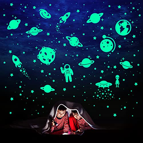 260 PCS Glow in The Dark Stars, Glowing Stars for Ceiling, Star Wall Decals Solar System Space Galaxy Planets Wall Stickers for Kids, Girls Boys Room Decorations for Bedroom