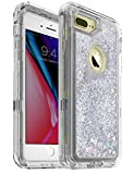 MXX Glitter 3D Cover Case Compatible with iPhone 8 Plus, Bling Sparkle Flowing Liquid Transparent 3 in 1 Shockproof TPU Silicone Core/PC Frame Case for iPhone 7 Plus/ 8 Plus/ 6S Plus -(Silver/Clear)