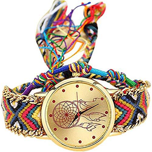 Kanggest.Reloj Trenzado Reloj de Pulsera Señoras Estilo étnico Reloj de Cuarzo Cuerda...