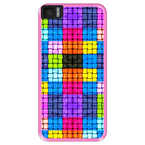 Hapdey Funda Rosa para [ Bq Aquaris M4.5 - A4.5 ] diseño [ Cuadrados de Colores con Gotas de Agua ] Carcasa Silicona Flexible TPU