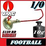 Adrenalin-Fishing VMC Jighaken Jigkopf Football Eierkopf Größe 1/0 10g 25 Stück im Set