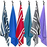 AirComfy Microfiber Beach Towel - Quick Dry Large XL Towels for Gym, Pool, Camp, Travel, Yoga (Striped Teal)