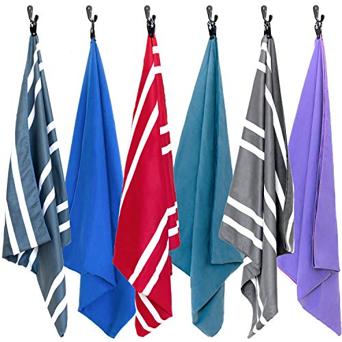 AirComfy Microfiber Beach Towel - Quick Dry Large XL Towels for Gym, Pool, Camp, Travel, Yoga (Striped Gray)