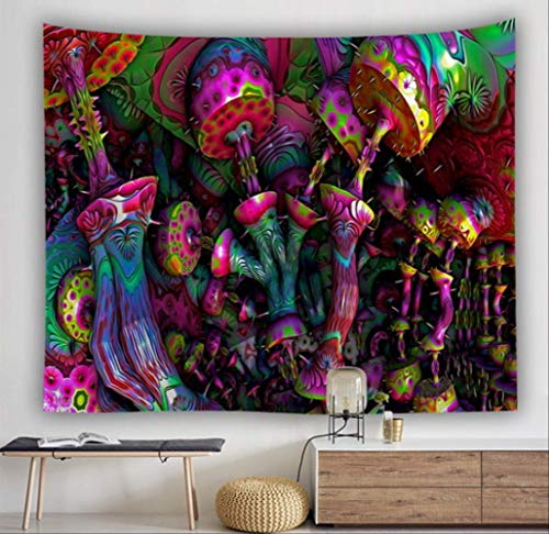JMKHY Tapiz Pared Decoración Bohemia del hogar de la Pared colgada con la casa Enorme de la Seta Tapiz psicodélico del país de Las Hadas 175x230cm