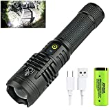 90000 Lumens Rechargeable LED Flashlight,5 Modes Adjustable Focus High Lumens Tactical Flashlights with 5000mAh 26650 Rechargeable battery