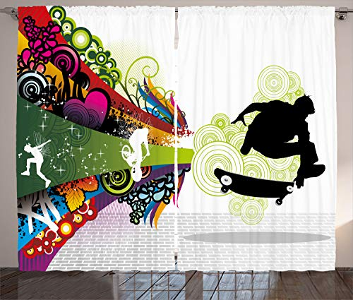 ABAKUHAUS Adolescent Rideaux, Scater Boy coloré, Décoration Intérieure Accent Ensemble de 2 Panneaux, 280 cm x 175 cm, Multicolore