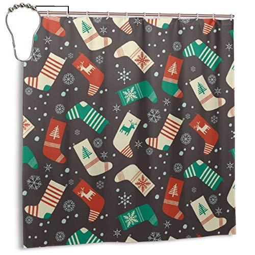 xiaolang Weihnachten nahtloses Muster. Weihnachtssocken. Chrismas Socken, Home Decoration Duschvorhang 72inX72in