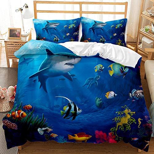 Bedclothes-Blanket Juego de Cama Matrimonio,Conjunto de Tres Conjuntos de Ropa de Cama Digital 3D de lecho bajo el Agua Whale Whale Shark-2_240 * 220cm