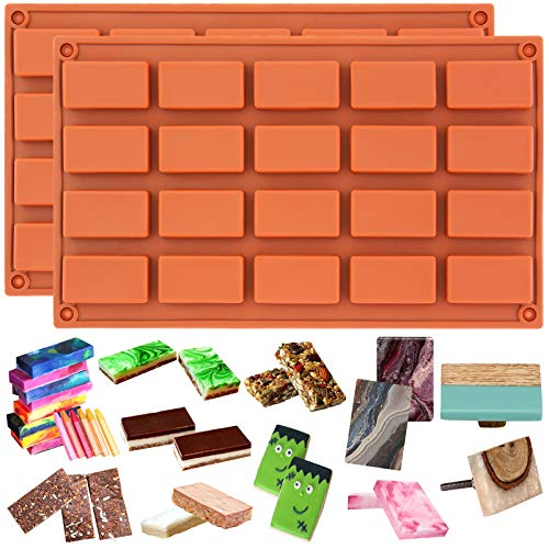 Funshowcase 20 Cavities Rectangular Cake Pan Soap Candy Chocolate Bar Silicone Molds 2 in Set