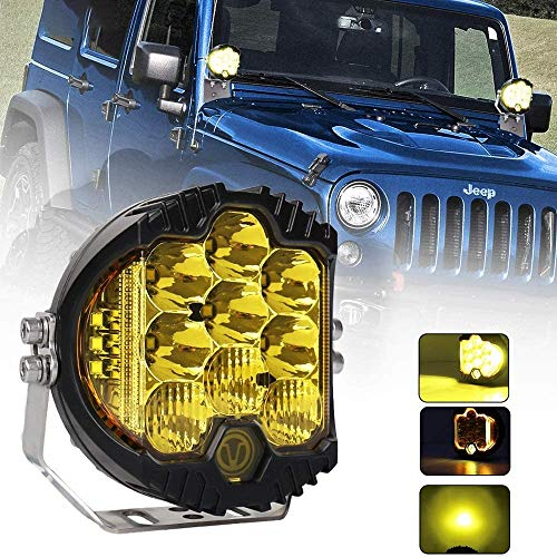 7 Inch 90W Amber Yellow LED Work Light Bar Side Shooter Off Road Driving Light Spot Flood Combo Driving Lamp IP67 Waterproof Fog Lights for Jeep Truck ATV SUV Car Boat