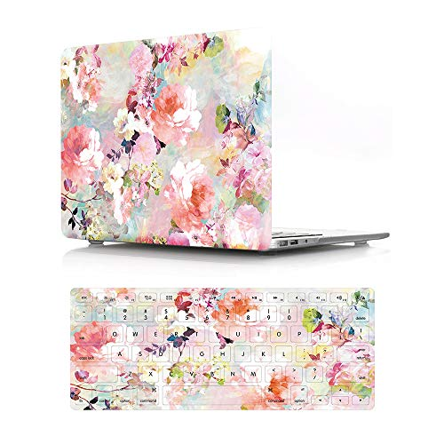 HRH 2 in 1 Pink Watercolor Flower Laptop Body Shell PC Protective Hard Case Cover and Matching Silicone Keyboard Cover for MacBook Air 11 inch 11.6'(Models: A1370 and A1465)