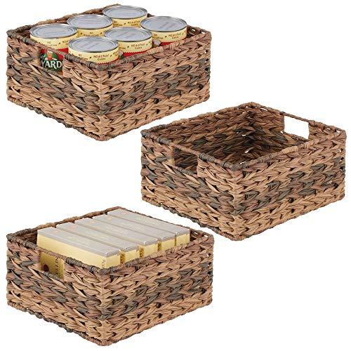 mDesign Woven Ombre Farmhouse Kitchen Pantry Food Storage Organizer Basket Bin - for Cabinets, Cupboards, Shelves, Countertops - Holds Potatoes, Onions, Fruit, 3 Pack - Brown Ombre