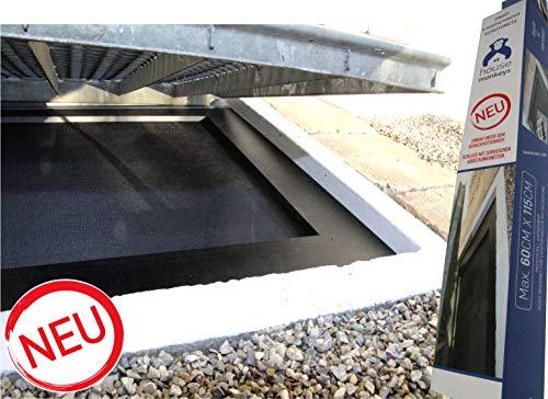 housemonkeys NEUENTWICKLUNG: Netz UNTER dem Gitterrost! Premium Lichtschachtabdeckung Kellerschachtabdeckung Insektenschutz max. 60 x 115 cm, langlebig, sehr niedrig (1,3mm!), Alurahmen