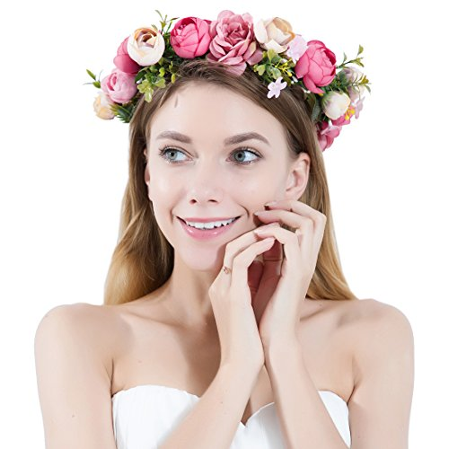 JaosWish Flower Crown Headband Garland Bohemian Bridal Flower Wreath Wedding Headpiece for Women Girls Hair Accessories, One Size, Pink