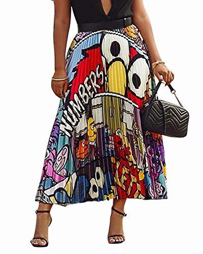 ThusFar Women's Graffiti Pleated Skirts Cartoon Printed Elastic Waist A-Line Swing Midi Skirt White Eye XXL
