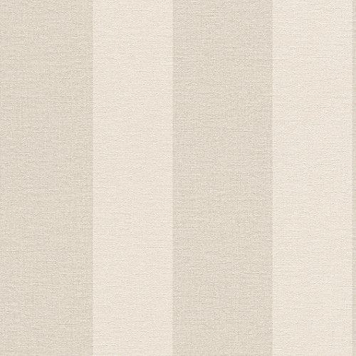 rasch Tapete 448771 aus der Kollektion Florentine II – Vliestapete in Beige mit cremefarbenen Streifen – 10,05m x 53cm (L x B)