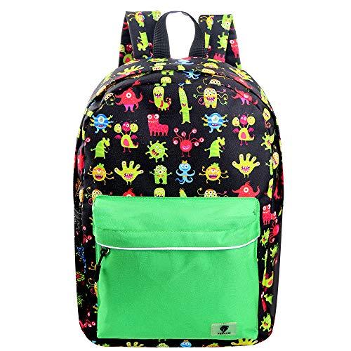FENRICI Kinderrucksack für 3-5 Jährige im Vorschulalter, Kindergarten, Kinder Rucksack Mädchen, Jungen, Schultasche mit Aussentasche für Wasserflasche, 14L (Grünes Süßes Monster)