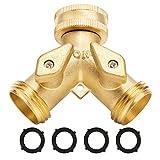 Garden Hose Splitter 2 Way - Heavy Duty Solid Brass Hose Y Splitter,Hose Faucet Splitter,3/4' Brass Hose Adapter Connectors Shut Off Valve, Hose Spigot Adapter 2 Valves, Plus 4 Extra Rubber Washers.