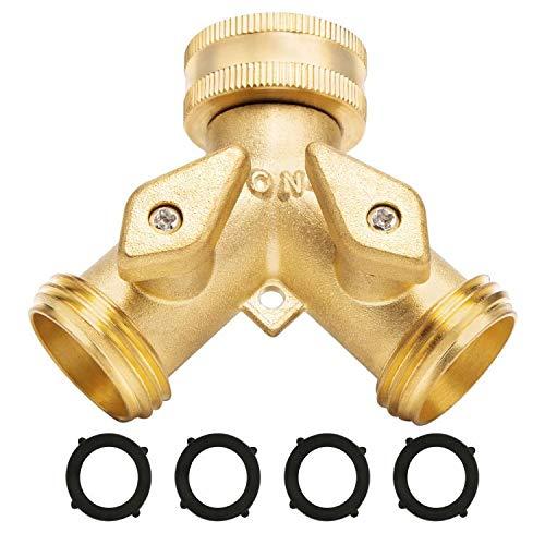 "Garden Hose Splitter 2 Way - Heavy Duty Solid Brass Hose Y Splitter,Hose Faucet Splitter,3/4"" Brass Hose Adapter Connectors Shut Off Valve, Hose Spigot Adapter 2 Valves, Plus 4 Extra Rubber Washers."