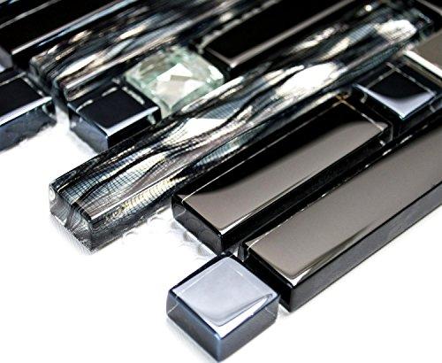Mosaik-Netzwerk - Mix piastrelle, in cristallo, acciaio inossidabile, vetro, metallo, nero, a specchio da parete per cucina o bagno