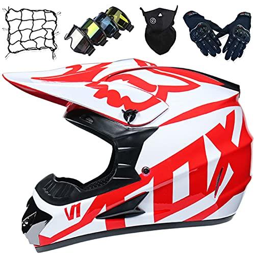 Casco Motocicleta, Casco de Motocross para Niños, Casco Completo de MTB de cara Completa para Adultos Casco de Descenso con Gafas/Guantes/Máscaras/Red Elástica - con diseño Fox - Blanco Rojo