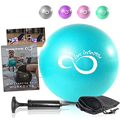 Live Infinitely Professional Grade 9 Inch Anti-Burst Mini Pilates Ball for Home Exercise, Balance Training, Yoga & Barre Workout – Includes Hand Pump, Needle Valve & Mesh Carrying Bag (Teal) from Live Infinitely