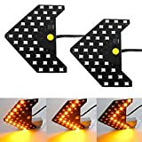iJDMTOY Pair Dynamic Sequential 3-Step Flash 33-SMD LED Circuit Board Panels For Behind The Side Mirror Turn Signal Retrofit, Amber Yellow
