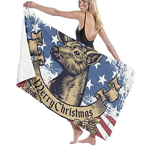 Toallas de Playa,Estados Unidos Bandera Navidad Ciervos,Toallas de baño Absorbente Toallas para Uso Diario,80 x 130cm