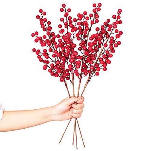 YQing 4 Stück Künstlich Rote Beerenstängel, 50.8cm Holly Weihnachtsbeeren Zweig Deko Burgunder Beeren Weihnachten Picks für Bastelarbeiten, Urlaub und Wohndekoration, Burgunderrot