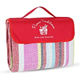 Picnic Traditions Large Picnic Blanket Water Resistant Tote - Great for Picnics, Camping on Grass, at The Beach, Tailgating at Stadiums, Durable Mat has Waterproof PEVA Backing - 69 x 53 in. (Red)
