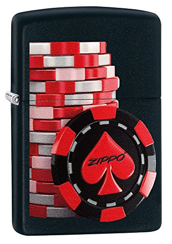 Zippo Poker Coins Benzinfeuerzeug, Messing, Edelstahloptik, 1 x 6 x 6 cm
