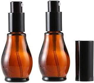 2Pcs Empty Refillable Cucurbit Shaped Amber Glass Lotion Pump Bottles Portable Cosmetic Makeup Cream Lotion Container Vial Jar Dispenser With Black Pump Head and Cap(30ml/1oz)