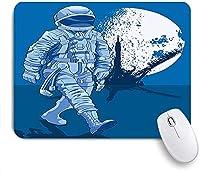 KAPANOU マウスパッド、宇宙飛行士は誇らしげに月を背景に歩きます月の宇宙冒険を歩きます おしゃれ 耐久性が良い 滑り止めゴム底 ゲーミングなど適用 マウス 用ノートブックコンピュータマウスマット