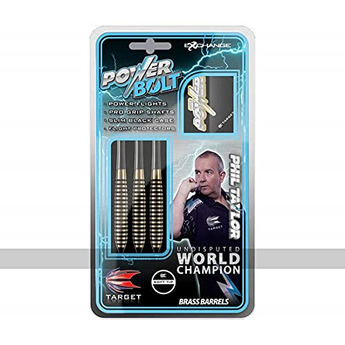 Target Darts Phil Taylor Power Bolt 18G Brass Soft Tip Darts Set bronze