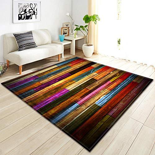 YQZS Ultra Zachte Rechthoek Ruimte Tapijten Gekleurde houten latten salontafel slaapkamer tapijt huis grote tapijt mat 80X120(31X47inch)