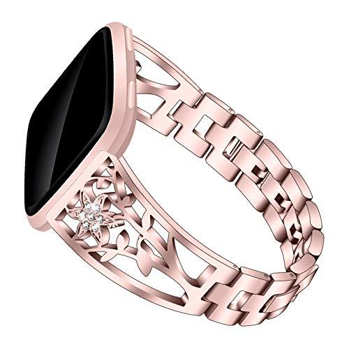 Compatible con Correas De Reloj Correa De Metal Band De Acero Inoxidable Band Deportiva Pulseras De Diamantes De Imitación Fitbit Versa 2 / Versa/Versa Lite,Rose Pink