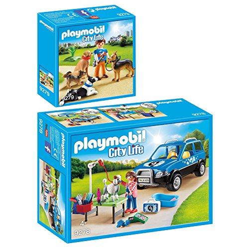 PLAYMOBIL® City Life 2er Set 9278 9279 Mobiler Hundesalon + Hundetrainer
