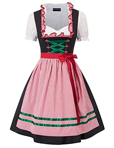 SCARLET DARKNESS Damen Trachtenkleid 3tlg Damen Knielang Dirndl Kleid für Oktoberfest 3tlg Kleid, Bluse, Schürze 2XL Schwarz und Rot