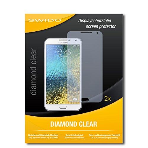 SWIDO 2 x Bildschirmschutzfolie Samsung Galaxy E7 Schutzfolie Folie DiamondClear unsichtbar