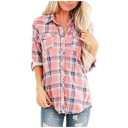 KEERADS Damen Langarm Bluse Kariertes Karo-Hemd, Casual Boyfriend Button-down V-Ausschnitt Leichte Dünne Blusenshirt Freizeit mit Einstellbare Ärmeln