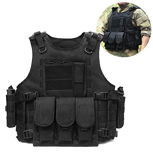 Lixada Tactical Vest Adjustable Outdoor Gear Load Carrier Vest for Hunting Hiking Camping CS Game