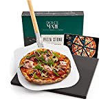 Dolce Mare Piedra para Pizza & Pala de Aluminio para Pizza - Piedra Negra de cordierita Apta para...
