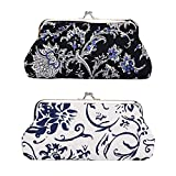 Oyachic 2 Packs Coin Purse Vintage Blue White Pouch Long Coin Pouch Women Wallet Kiss lock Cosmetic Bag Make up Bag Clasp Clutch