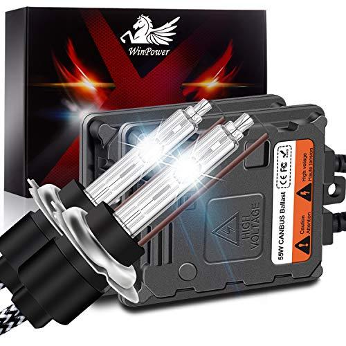 WinPower H7 55W AutoHID Xenon Kit mit Vorschaltgerät und CAN-Bus Super DecoderScheinwerfer Ersatz Birne 8000K Eisblau,2 Stücke